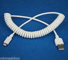 Quick Fast Charger ONLY Coiled USB Cable WHITE for iPad Pro Air 2 4 mini 3