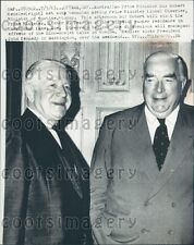1963 Australian Prime Minister Robert Menzies & L Chevier of Canada Press Photo