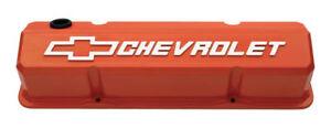 Proform 141-924 Slant Edge Valve Covers For SBC Orange Cast Aluminum PAIR