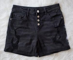 JUSTICE Size 18 Girls Black Distressed Denim Shorts High Waist Snap Front Jean
