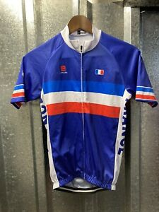 Long AO France Cycling Team Blue Mens Short Sleeve Cycling Jersey Size Small
