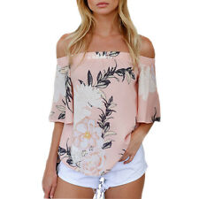 Fashion Women Off Shoulder Floral Printed Blouse Casual Backless Tops T Shirt