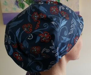 Red flowers Bouffant Scrub Cap Surgical Medical Doctor Nurse Cook Hat 100%ctn