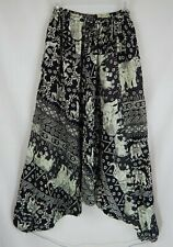 Harem Pants Indian Elephant Print Womens Size Small Drawstring Elastic Cuffs