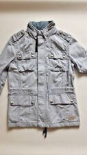 UNISEX Striped Field Jacket/Safari/Casual/Cotton/Fashion/High Neck/Blue/Small