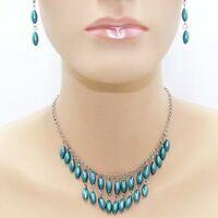 Parure de perles Collier, boucles d'oreilles pendantes, bleu, bijoux fantaisie N