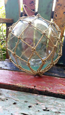Nautical Glass Fishing Float Bouy Clear Glass Ball 24cm in Net Vintage Style New
