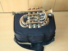 SMART DEAL! BRAND NEW SILVER Bb POCKET TRUMPET+FREE HARD CASE+MOUTHPIECE