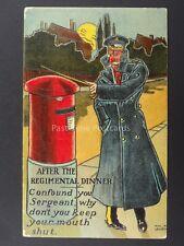 Postman MILITARY OFFICER AFTER REGT DINNER SPEAKS PILLAR BOX c1908 Postcard