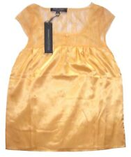Ropa Voga Yellow Satin Lace Top Size Small NWT