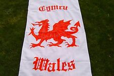 Wales/Welsh Dragon  Flag  Beach Towel     Soft 100% Cotton Velour  White & Red