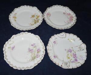 KPM, Kristef Porcelain, Germany, 1885-1900, Flowers, Set of 4 Dessert Plates