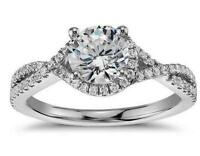 Solid 14k White Gold 1.88ct Brilliant cut Twisted Diamond Engagement Ring