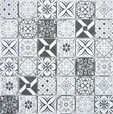 Glasmosaik Retro schwarz&weiss Wand Küche Dusche Bad  63-0103  10 Matten