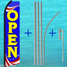 Open Patriotic Flutter Feather Flag +15' Tall Pole Mount Kit Swooper Banner Sign