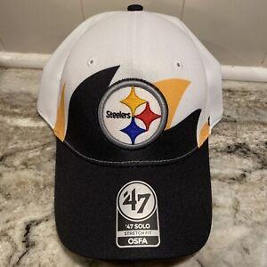 Mens Pittsburgh Steelers Football '47 Cap Brand Flex Fit Retro Shark Hat OSFA