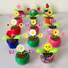 1x Solar Powered Flip Flap Flower Swing Dancing Toy Gift Decoration For Car Home