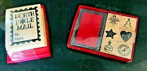 Christmas Wooden Rubber Stamp Set with Ink Pad North Pole And Set Of 6 Mini Set