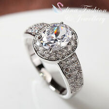 18K White Gold Plated Simulated Diamond Halo Oval Cut Halo Engagement Ring