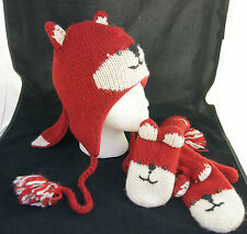 deLux brand FOX HAT & MITTENS SET knit ADULT costume FL LINED red animal cap NEW