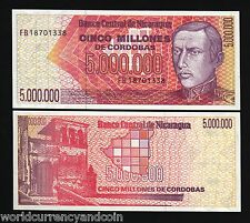NICARAGUA 5000000 P165 1990 5 MILLION MAP CHURCH UNC LATINO CURRENCY MONEY NOTE