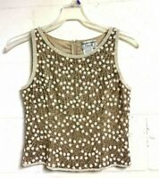 ADRIANNA PAPELL EVENING Beaded Sleeveless Silk Blouse Top