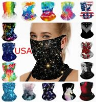 Face Mask Neck Gaiter Camo Camouflage Bandana Cover Shield Scarf with Loops Ear