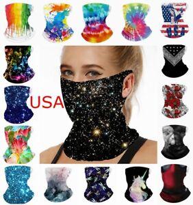 Face Mask Neck Gaiter Camo Fashion Bandana Covering Shield Scarf with Loops Ear