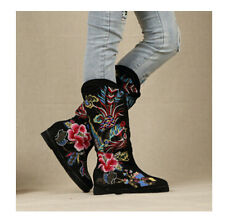 Women's Vintage Chinese Style Flat soft cotton Embroidery Shoes Mid-Calf  boots