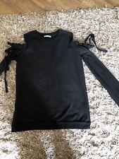 Zara Trafaluc Black Cut Out Shoulder Detail Cotton Top Size M