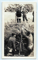 81 mm mortar, World War II photo of soldiers loading from bunker, WWII