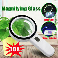 30X High Power Handheld Magnifying Glass LED Lights Jumbo Illuminated Magnifier