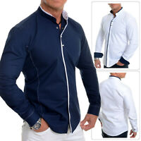 Men's Elegant Long Sleeve Shirt Smart Grandad Collar Snaps Cotton White Navy