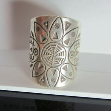 Fine Silver Rings Hill tribe Karen Argento Anello Band Tribal Engrave Emboss L35