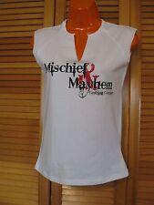 V Neck Sleeveless T-Shirt , Mischief & Mayhem, Size S Ladies, White Stretchy