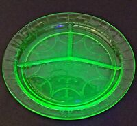 Vintage Green Depression Glass Vaseline Divided Dish Relish Plate 10.5""