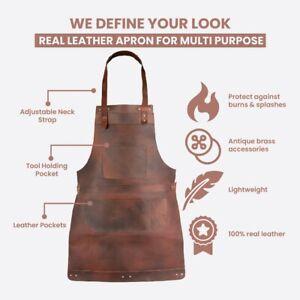 Dark Brown Full Grain Leather Apron Butcher Apron -BBQ Apron - Blacksmith Apron