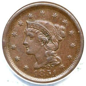 1851 ANACS AU 55 Braided Hair Large Cent Coin 1c