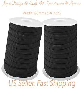 3/4 inch (20mm) Flat Skinny Elastic Band Black / White 1 5 10 20 50 100 yards