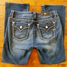 Miss Me Jeans Blue Mid-rise Boot Cut Silver Stitch Size 30