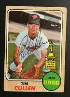 Tim Cullen Senators signed 1968 Topps baseball card #2019 Auto Autograph 1