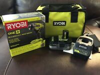 "Ryobi 18v One+ P263 3/8"" Impact Wrench Set P191 3Ah Battery / Charger & Bag NEW"