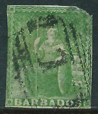 BARBADOS - 1855 QV 'YELLOW-GREEN' Used SG7 Cv £110 [A0044]