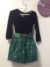 Girls formal dress BONNIE JEAN size 4T green black lined crinoline overlay 28
