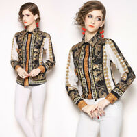 2019 Spring Summer Fall Vintage Floral Print Collar Casual OL Women Shirt Blouse