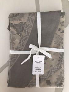 "William Sonoma Sorrento Tile Jacquard Tablecloth, Round 70"", New W/ $139.95 Tag"