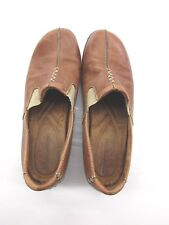 *NATURALIZER* SIZE 9.5 WOMEN'S BROWN LEATHER FLAT CASUAL SHOES