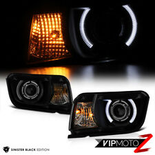 10-13 Chevy Camaro {Sinister Black} Smoked Halo LED DRL Projector Headlight Lamp