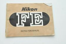 Original Nikon Fe Instruction Manual/User Guide
