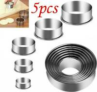 5Pcs Stainless Steel Round Circle Cookie Cutter Fondant Cake Mold Biscuit Pastry